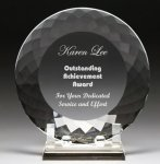 Corporate Crystal Facet Plates Circle Awards