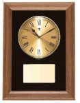 American Walnut Framed Wall Clock with Gold Face & Black Velour Sales Awards