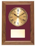 American Walnut Framed Wall Clock with Gold Face & Maroon Velour Sales Awards